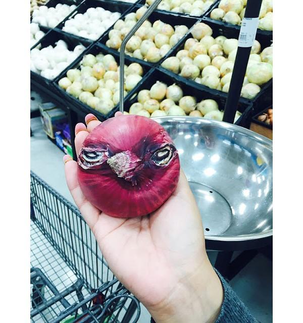 Cebola que parece um Angry Bird