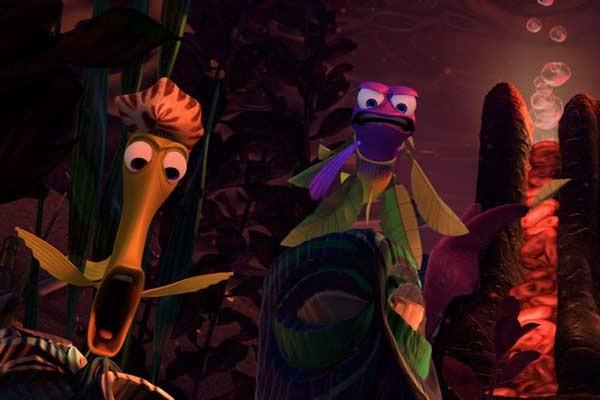Os totens que decoram o aquário são caricaturas de funcionários da Pixar