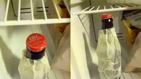 1. Usar guardanapos molhados para resfriar suas bebidas