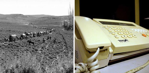 Quando a máquina de fax foi inventada, as pessoas ainda estavam viajando ao longo do trilho de Oregon