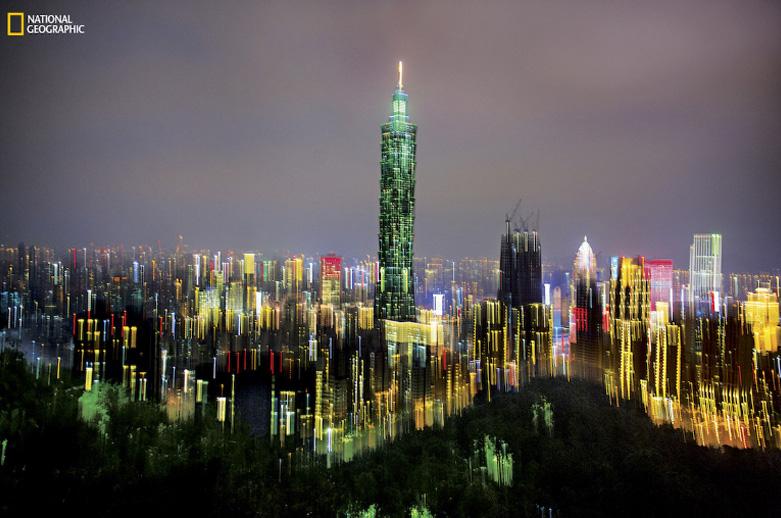 Skyline noturno de Taipei