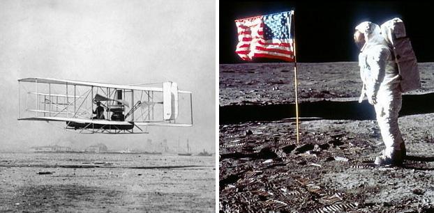 Chegamos à lua apenas 66 anos depois dos irmãos Wright realizarem o primeiro voo com humanos