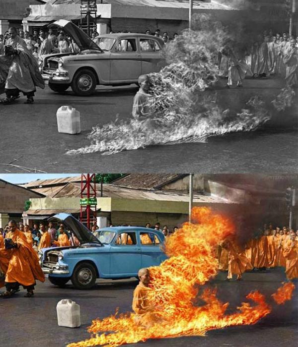 Uma imagem famosa e muito forte do sacrifício Thich