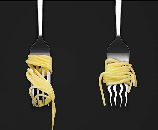 O garfo especializado em macarrão