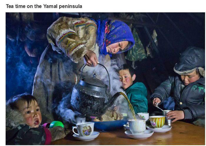 A hora do chá na península de Yamal
