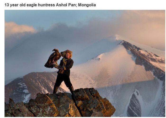 Uma jovem de 13 anos dedicada a caçar com águias douradas