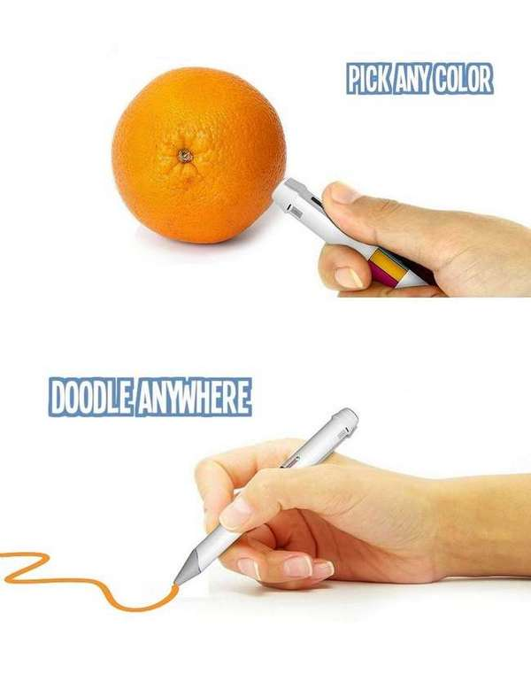 A caneta que absorve cores de objetos reais