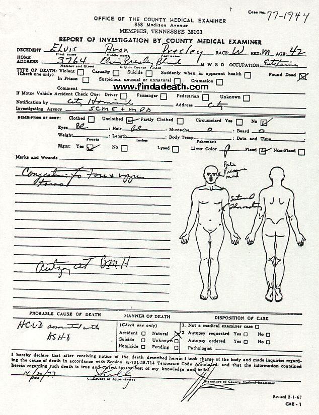 Laudo Médico de Elvis Aron Presley