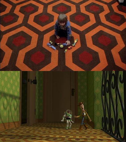 O tapete de O Iluminado e da casa de Sid em Toy Story são os mesmos