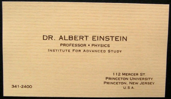 Cartão de Albert Einstein