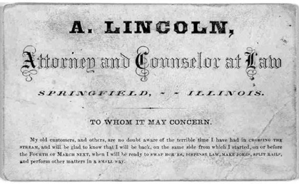 O cartão de Abraham Lincoln