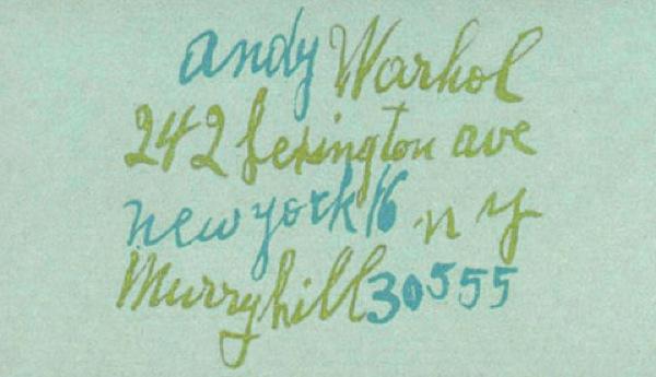 Cartão de Andy Warhol