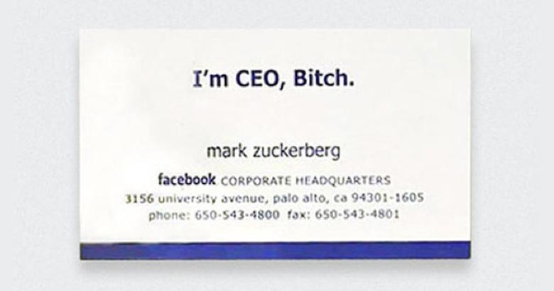 Cartão de Mark Zuckerberg