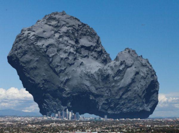 Um cometa comparado com o tamanho de Los Angeles