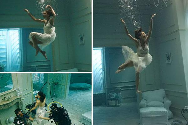 Foto surreal debaixo da água