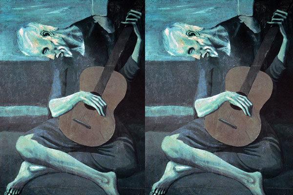 Vieux guitariste aveugle