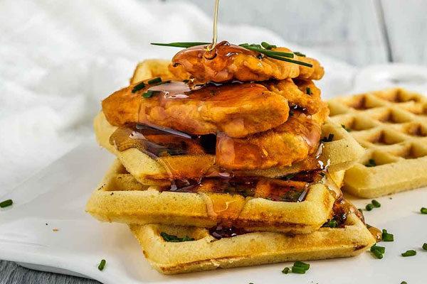 Waffles e frango frito