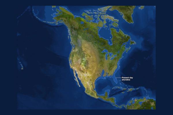 Mapa da América do Norte sem gelo glacial