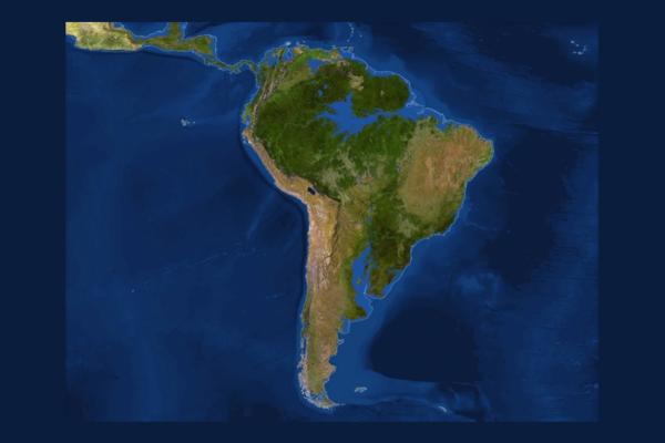Mapa da América do Sul sem gelo glacial