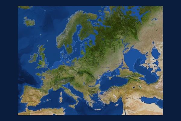 Mapa da Europa com gelo derretido