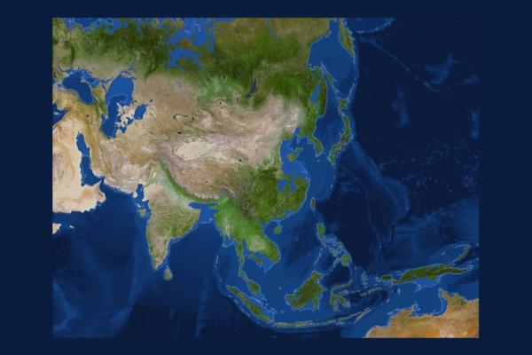 Mapa da Ásia sem gelo polar