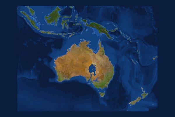 Mapa da Austrália com gelo dos polos